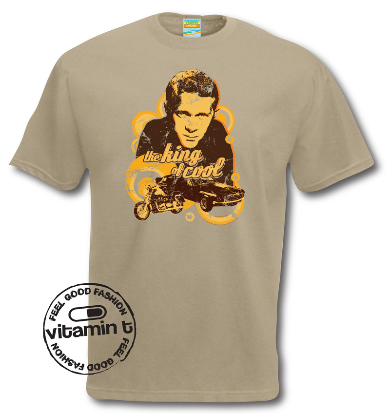 steve mcqueen t shirt king of cool t shirt retro tee hollywood actor ebay. Black Bedroom Furniture Sets. Home Design Ideas