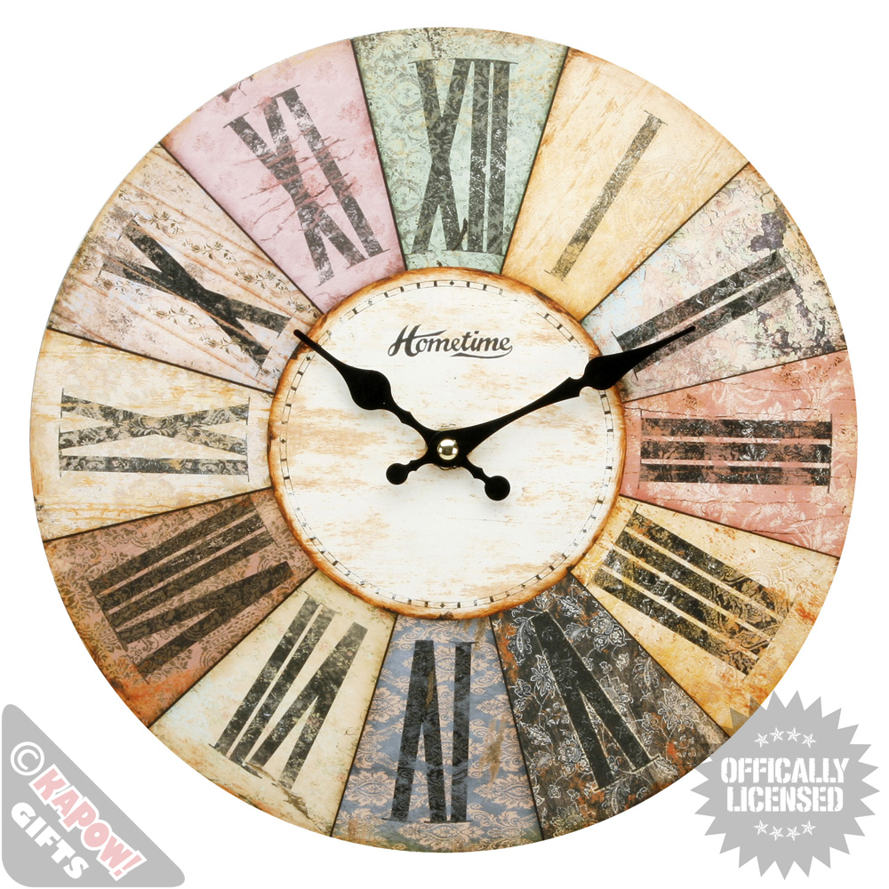 Large vintage wall clock roman numerals pastel colours shabby chic retro cool ebay - Large roman numeral wall clocks ...