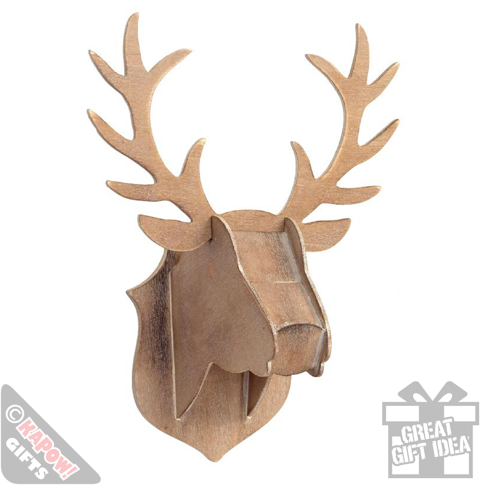 Wooden Stag Head Wall Decor Xmas Wall Hanging Plaque