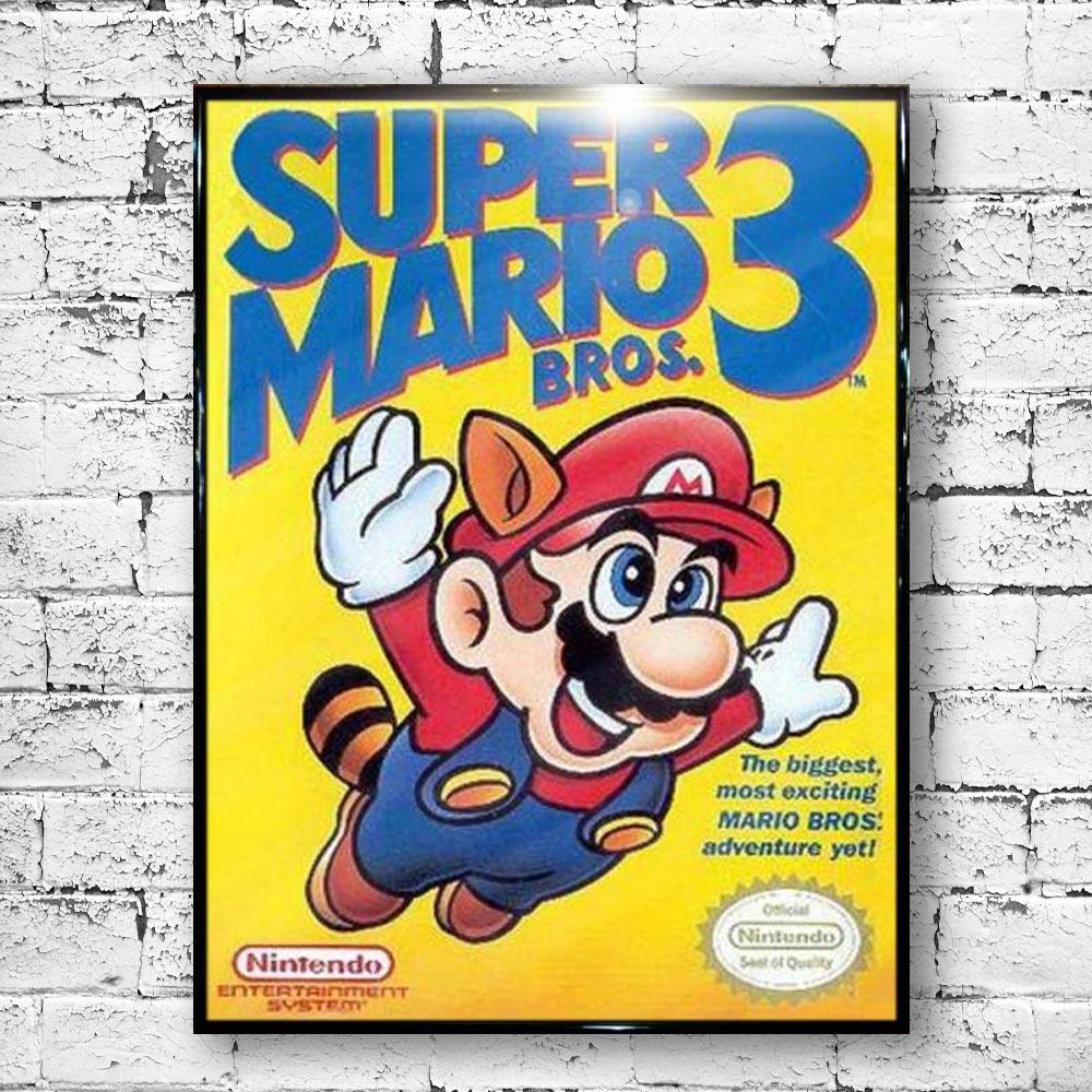 Super Mario Bros 3 Large Poster. NES Cover Retro Funky