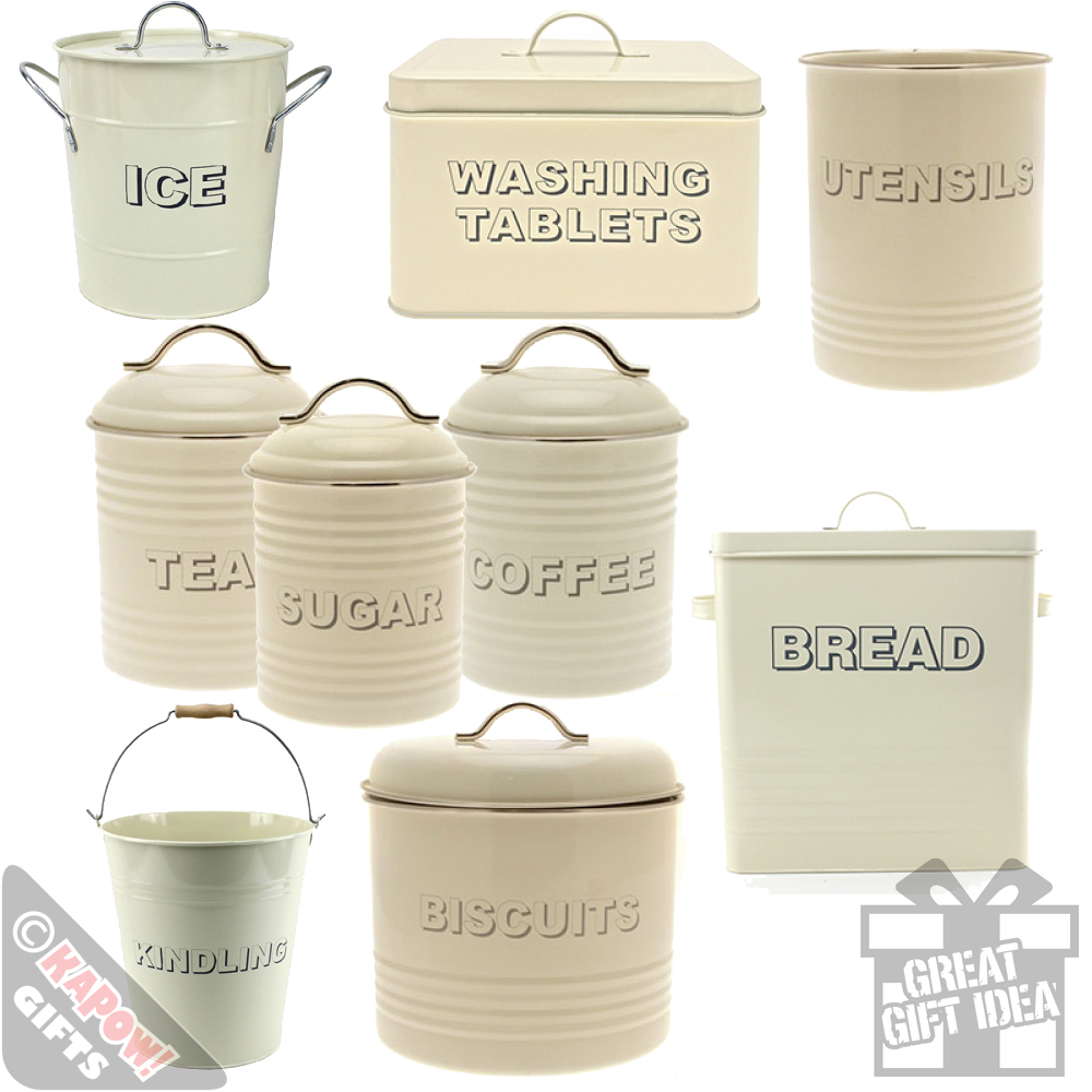 Kitchen Storage Tins Cream Country Style Vintage Look Farmhouse Canisters Tub